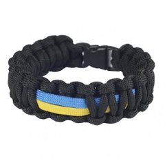 M-Tac Paracord Bracelet with Ukrainian flag, Черный, Medium